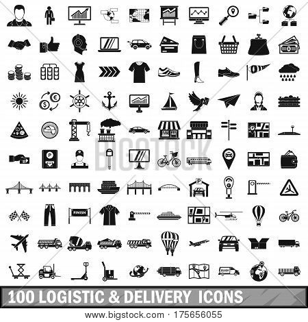 100 logistic and delivery icons set in simple style for any design vector illustration