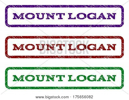 Mount Logan watermark stamp. Text caption inside rounded rectangle frame with grunge design style. Vector variants are indigo blue, red, green ink colors. Rubber seal stamp with dirty texture.