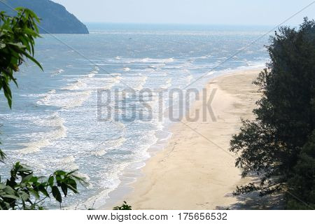Beach and sea at the khao-sam-roi-yot national Park