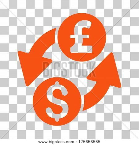 Dollar Pound Exchange icon. Vector illustration style is flat iconic symbol, orange color, transparent background. Designed for web and software interfaces.