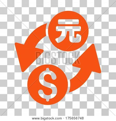 Dollar Yuan Exchange icon. Vector illustration style is flat iconic symbol, orange color, transparent background. Designed for web and software interfaces.
