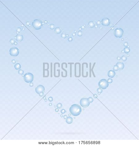 Soap bubbles background. Air bubbles. Bubbles in form of heart.