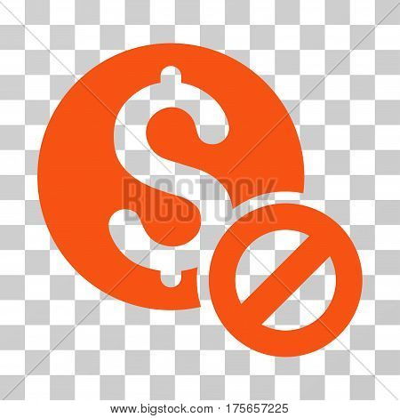 Free Of Charge icon. Vector illustration style is flat iconic symbol, orange color, transparent background. Designed for web and software interfaces.