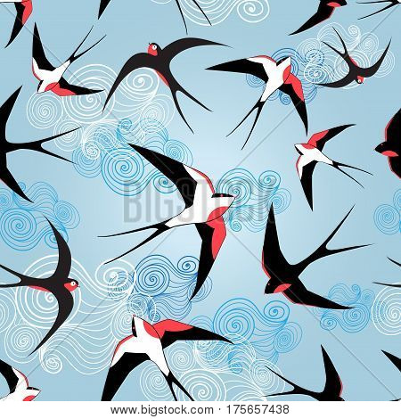 Graphic pattern with swallows on a blue background with clouds
