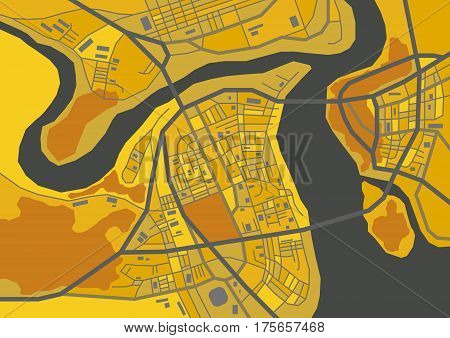 Vector flat abstract city map, decorative map with colorful areas, dark shades