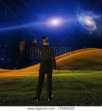 Man touches sky creating ripples    3D Render  Some elements provided courtesy of NASA