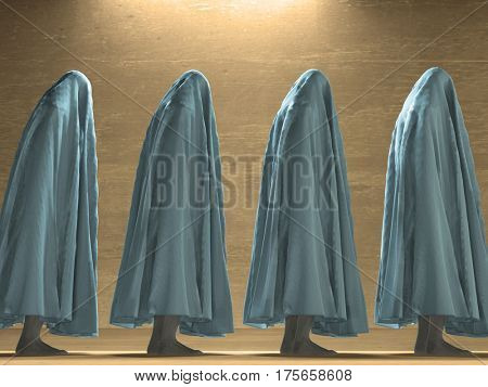 White clothed figures  3D Render