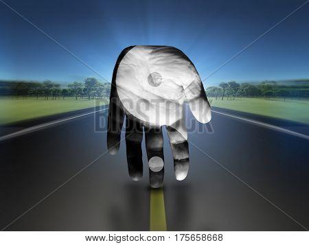Yin Yang Hand   3D Render