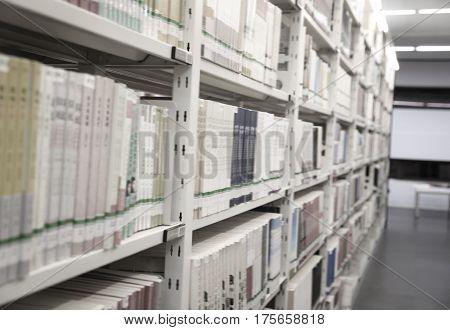 books on library shelves