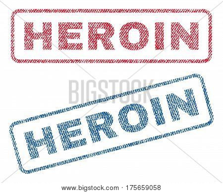 Heroin text textile seal stamp watermarks. Blue, red fabric vectorized texture. Vector caption inside rounded rectangular banner. Rubber sign with fiber textile structure.