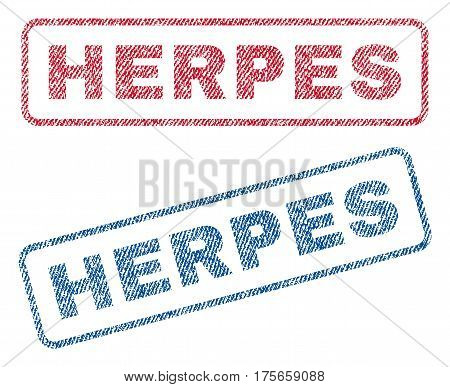 Herpes text textile seal stamp watermarks. Blue, red fabric vectorized texture. Vector tag inside rounded rectangular banner. Rubber sign with fiber textile structure.