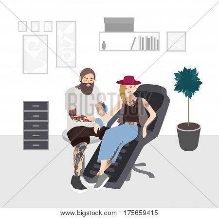 Professional tattooer doing tattoo to young woman in studio. Tattoo master at work. Tattooist with client. Flat illustration.