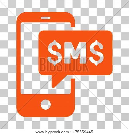 Phone SMS icon. Vector illustration style is flat iconic symbol, orange color, transparent background. Designed for web and software interfaces.