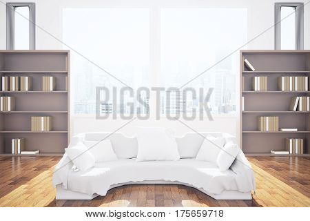 Front view of modern interior with white couch bookcases city view and daylight. 3D Rendering