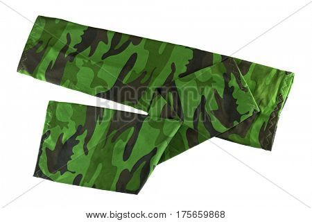 Stretch and folded fingerless sleeve in green camouflage patterns to cover and protect arm from over exposure of harmful sun, UV ray while doing outdoor activities, isolated on white background