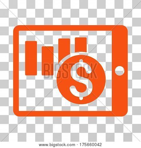 Sales Chart On PDA icon. Vector illustration style is flat iconic symbol, orange color, transparent background. Designed for web and software interfaces.
