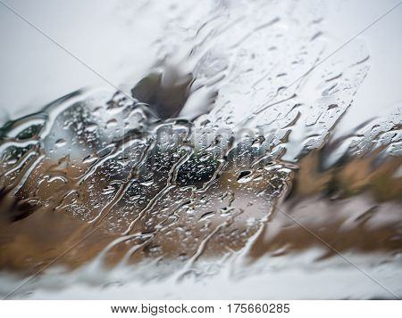close up photo of rain drops on car window