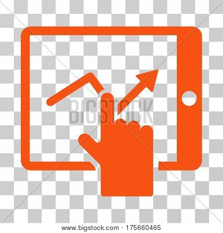 Tap Trend On PDA icon. Vector illustration style is flat iconic symbol, orange color, transparent background. Designed for web and software interfaces.