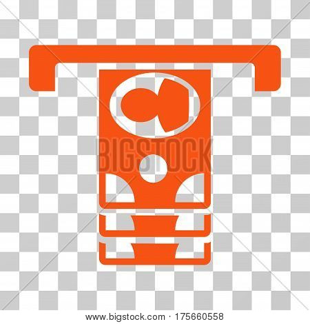 Withdraw Banknotes icon. Vector illustration style is flat iconic symbol, orange color, transparent background. Designed for web and software interfaces.