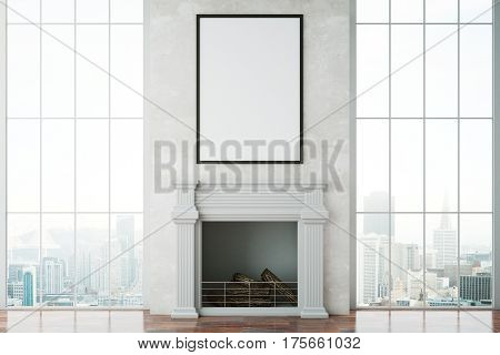 Front view of bright room with fireplace blank picture frame and city view. Mock up 3D Rendering