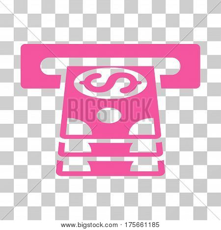 Bank Cashpoint icon. Vector illustration style is flat iconic symbol, pink color, transparent background. Designed for web and software interfaces.