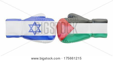 Boxing gloves with Israel and Palestine flags. Governments conflict concept 3D rendering