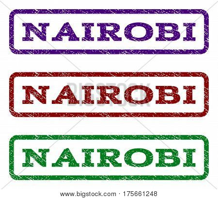 Nairobi watermark stamp. Text tag inside rounded rectangle with grunge design style. Vector variants are indigo blue, red, green ink colors. Rubber seal stamp with dust texture.
