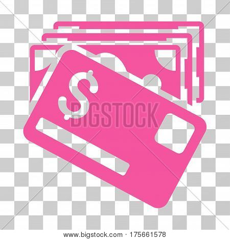 Banknotes And Card icon. Vector illustration style is flat iconic symbol, pink color, transparent background. Designed for web and software interfaces.