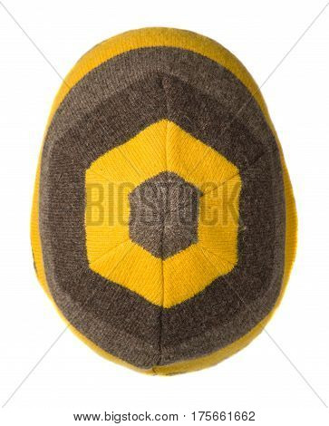 Hat Isolated On White Background .knitted Hat .yellow Brown Hat