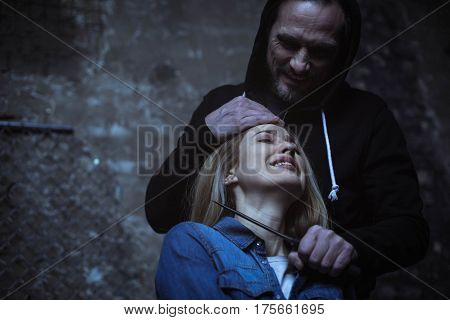 You think I wont do that. Hotheaded brutal murderous man putting a knife to girls throat while threatening killing her