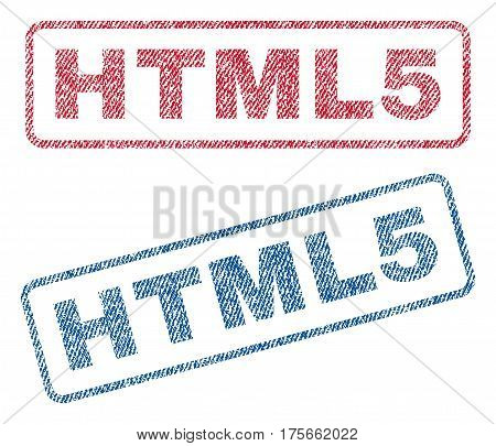 HTML5 text textile seal stamp watermarks. Blue, red fabric vectorized texture. Vector caption inside rounded rectangular shape. Rubber sticker with fiber textile structure.