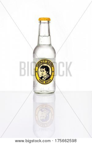 ZAGREB, CROATIA - MARCH 4, 2017: Thomas Henry tonic water isolated on white with reflection