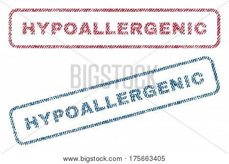 Hypoallergenic text textile seal stamp watermarks. Blue, red fabric vectorized texture. Vector tag inside rounded rectangular shape. Rubber sign with fiber textile structure.