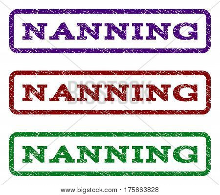 Nanning watermark stamp. Text tag inside rounded rectangle frame with grunge design style. Vector variants are indigo blue, red, green ink colors. Rubber seal stamp with scratched texture.