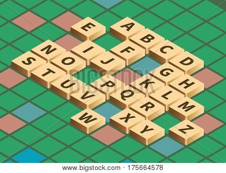 Vector isometric word puzzling game. Alphabet on wooden tiles in isometric projection. Game board background