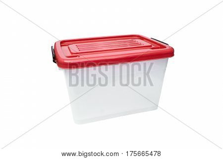 Plastic container storage box with a red lid