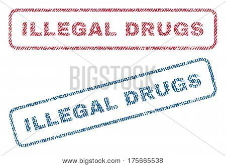 Illegal Drugs text textile seal stamp watermarks. Blue, red fabric vectorized texture. Vector caption inside rounded rectangular shape. Rubber sign with fiber textile structure.