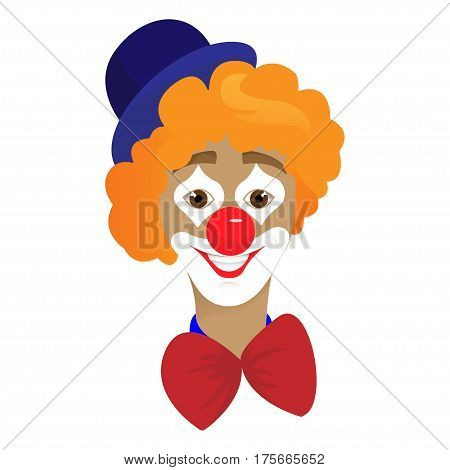 Circus Clown Artist In Classic Outfit With Red Nose And Make Up Holding A Balloon In The Circus Show, vector illustration