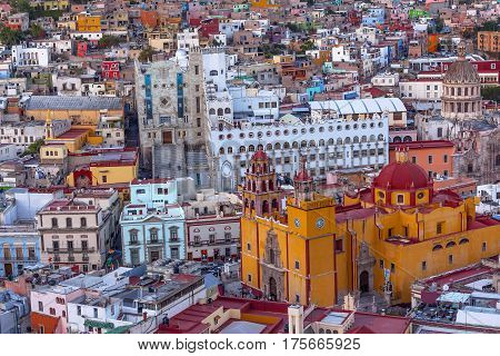 Our Lady of Guanajuato Church University Templo Companiea Guanajuato Mexico From Le Pipila Overlook