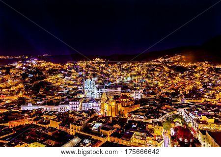 Our Lady of Guanajuato Church University Templo Companiea Temple San Diego Jardin Night Guanajuato Mexico From Le Pipila Overlook