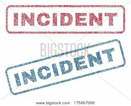 Incident text textile seal stamp watermarks. Blue, red fabric vectorized texture. Vector tag inside rounded rectangular banner. Rubber sign with fiber textile structure.