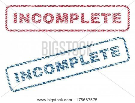 Incomplete text textile seal stamp watermarks. Blue, red fabric vectorized texture. Vector caption inside rounded rectangular banner. Rubber sticker with fiber textile structure.