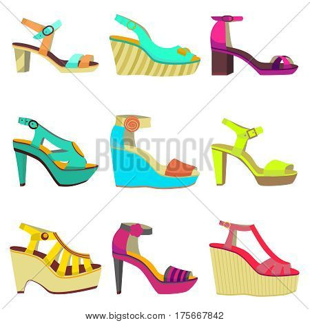 vector set of women summer shoes - high heels and platform shoes with straps