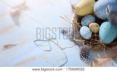Happy Easter day; Holidays background with Easter eggs on blue table