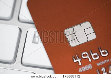 A closeup of credit card chip / Measure to deal with counterfeit card fraud / Credit card security and data encryption