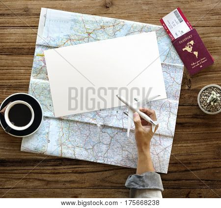 Hand Hold Toy Plane Travel Passport Ticket Map