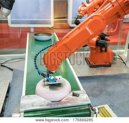 artificial intelligence machine at industrial manufacture factory,Smart factory industry 4.0 concept.