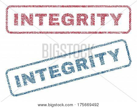 Integrity text textile seal stamp watermarks. Blue, red fabric vectorized texture. Vector tag inside rounded rectangular banner. Rubber emblem with fiber textile structure.