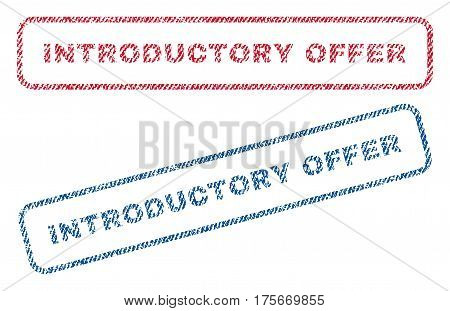 Introductory Offer text textile seal stamp watermarks. Blue, red fabric vectorized texture. Vector caption inside rounded rectangular shape. Rubber sign with fiber textile structure.