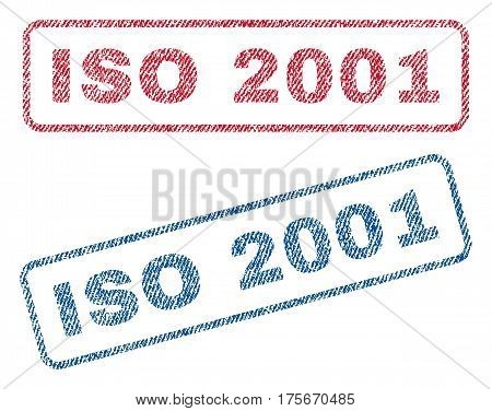 ISO 2001 text textile seal stamp watermarks. Blue, red fabric vectorized texture. Vector caption inside rounded rectangular banner. Rubber sticker with fiber textile structure.